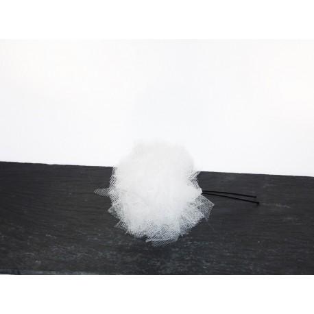 épingles à chignon pompon x2 tulle blanc- Accessoire coiffure mariée