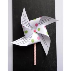 Faire-part baptême thème candy bar moulin à vent à pois rose et vert