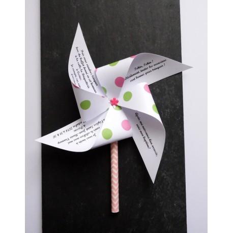 Faire-part baptême thème candy bar moulin à vent