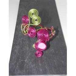 Bracelet fuchsia et vert anis fil aluminium
