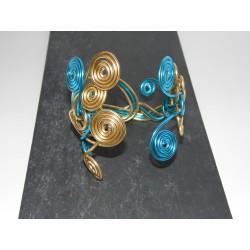 Bracelet turquoise et or fil aluminium