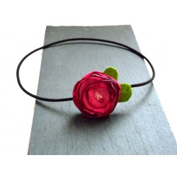 Headband fleur rose fuchsia et perles Swarovski