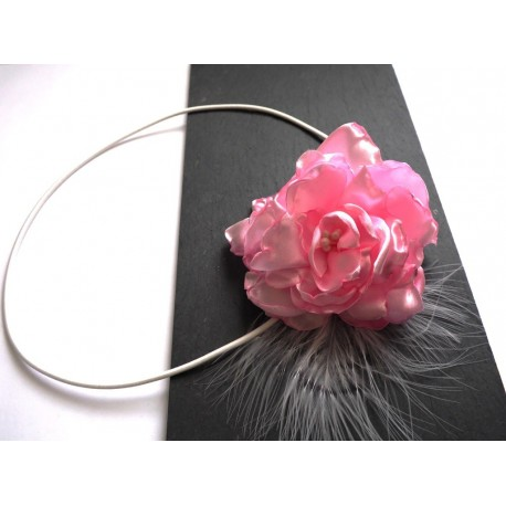Headband rose & plumes blanches - accessoire mariée