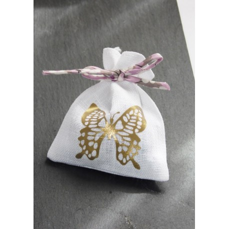 "Ballotin dragées lin blanc "" papillon or "" et cordon liberty pour mariage, communion"